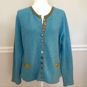 Sundance Extra Fine Merino Wool Cardigan Large Blu